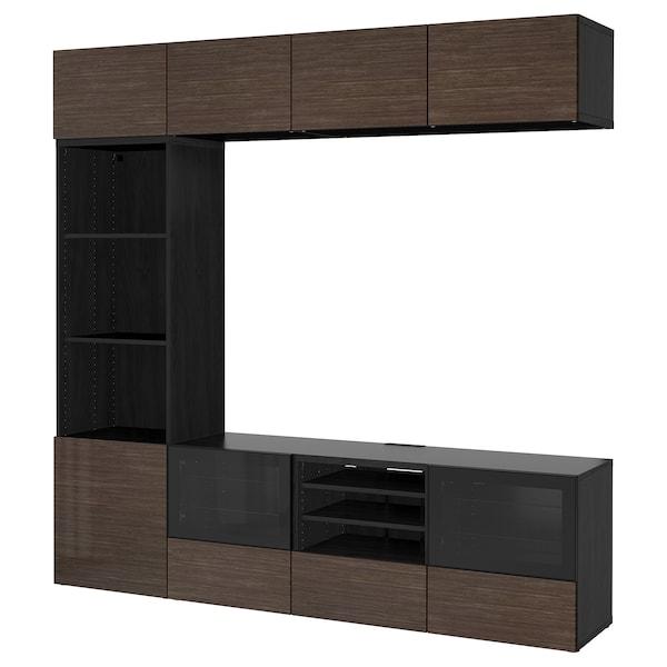 BESTÅ TV komb.odlaganje/staklena vrata, crno-smeđa/Selsviken v. sjaj smeđe b. staklo, 240x40x230 cm