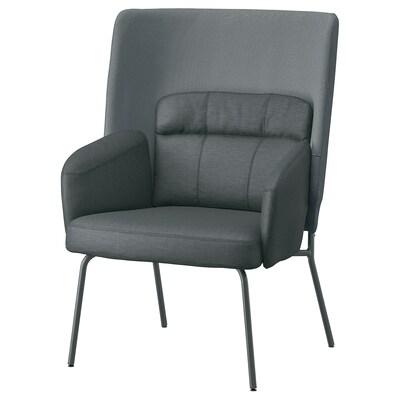 BINGSTA Fotelja visokog naslona, Vissle tamnosiva/Kabusa tamnosiva