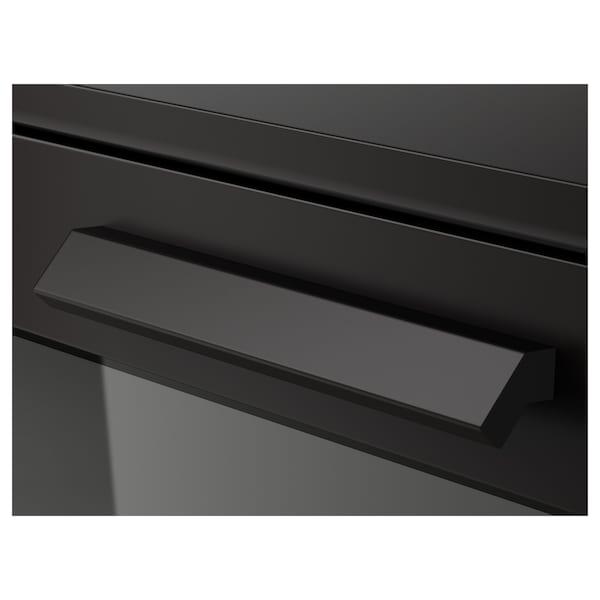 BRIMNES Komoda s 4 fioke, crna/mlečno staklo, 78x124 cm