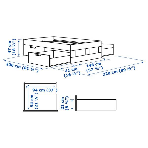 BRIMNES Okvir kreveta s odlaganjem, bela/Leirsund, 140x200 cm