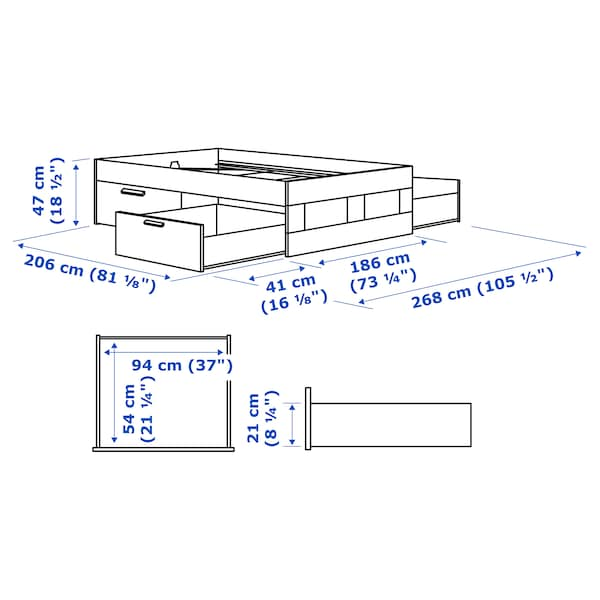 BRIMNES Okvir kreveta s odlaganjem, crna/Leirsund, 180x200 cm