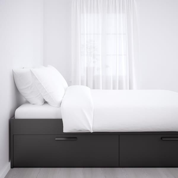 BRIMNES Okvir kreveta s odlaganjem, crna, 140x200 cm