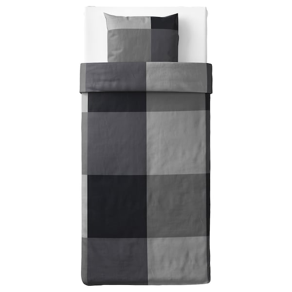 BRUNKRISSLA Jorganska navlaka i jastučnica, crna, 150x200/50x60 cm