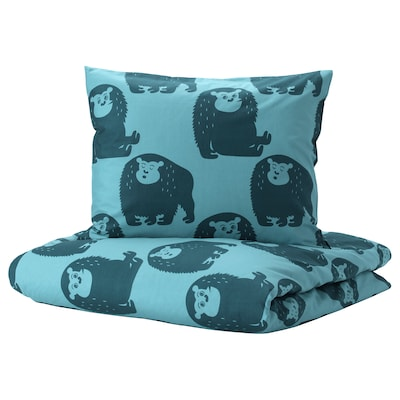 DJUNGELSKOG jorganska navlaka i jastučnica majmun/plava 200 cm 150 cm 50 cm 60 cm