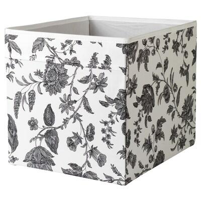 DRÖNA Kutija, cvetni dezen crna/bela, 33x38x33 cm