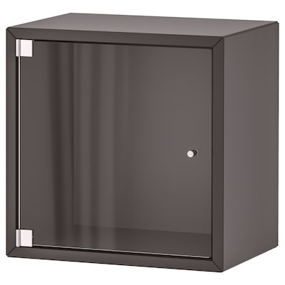 EKET Zidni ormarić sa staklenim vratima, tamnosiva, 35x25x35 cm