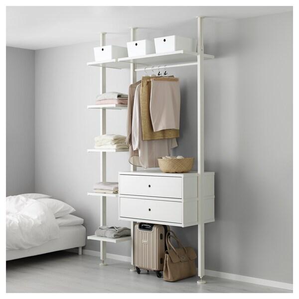 ELVARLI 2 odeljka, bela, 135x51x222-350 cm