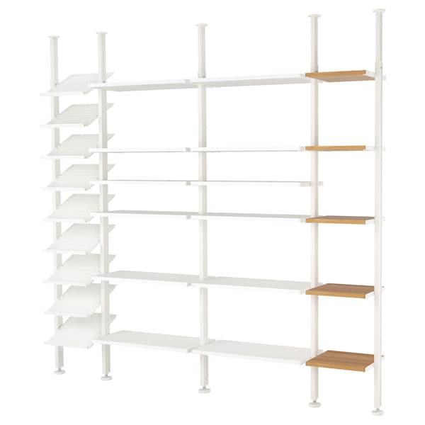 ELVARLI 4 odeljka, bela/bambus, 262x36x222-350 cm
