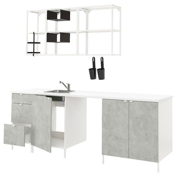 ENHET Kuhinja, bela/imitacija betona, 243x63.5x222 cm