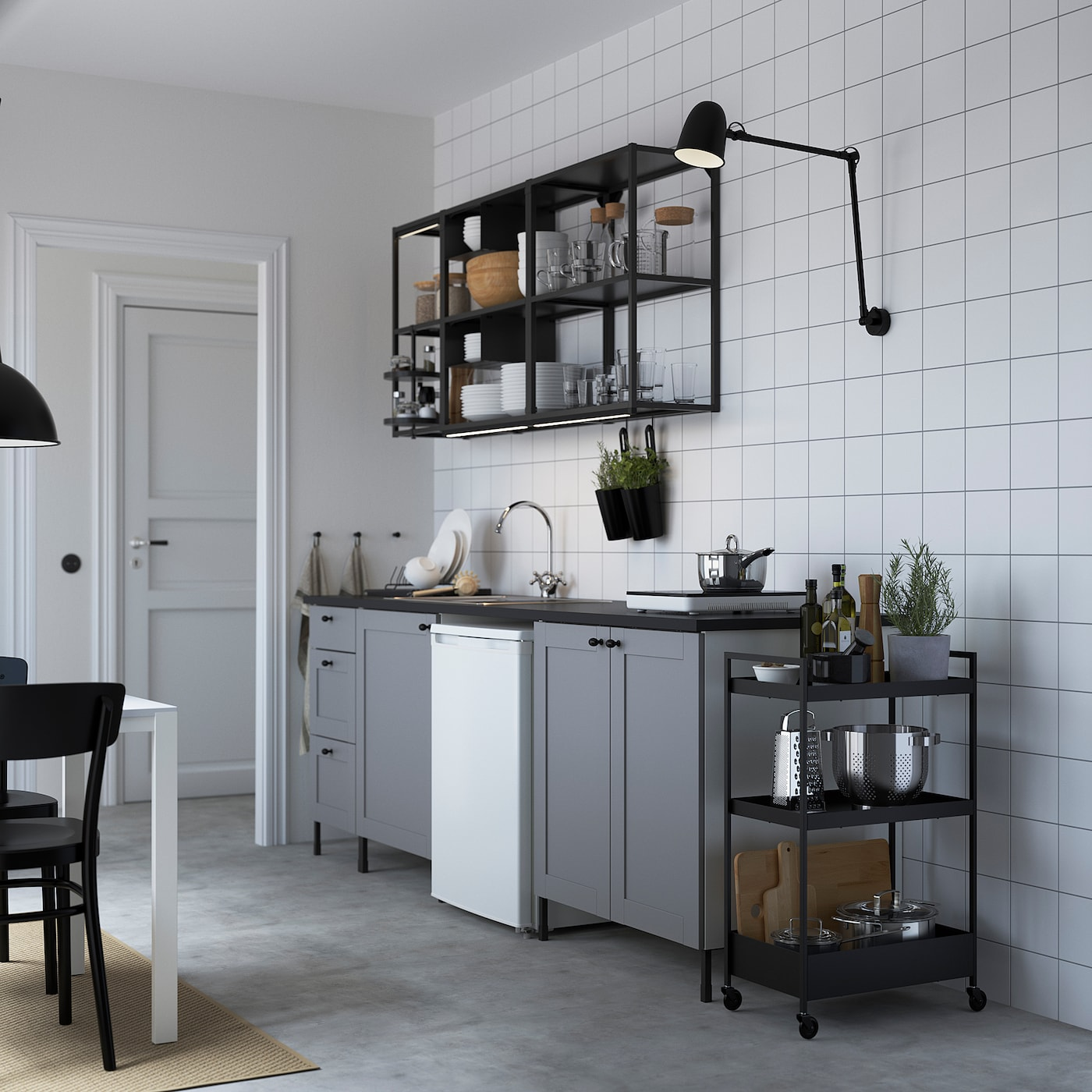 ENHET Kuhinja, boja antracita/siva okvir, 243x63.5x222 cm