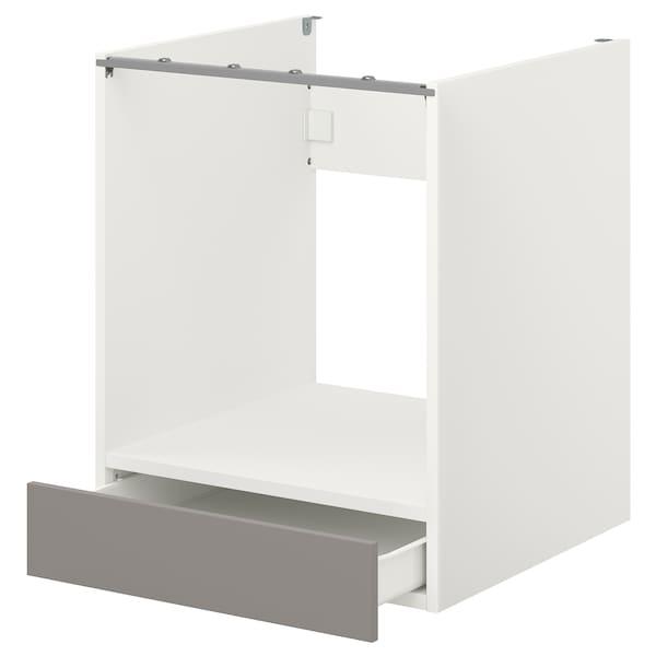 ENHET Pod.ormarić za pećnicu s fiokom, bela/siva okvir, 60x60x75 cm