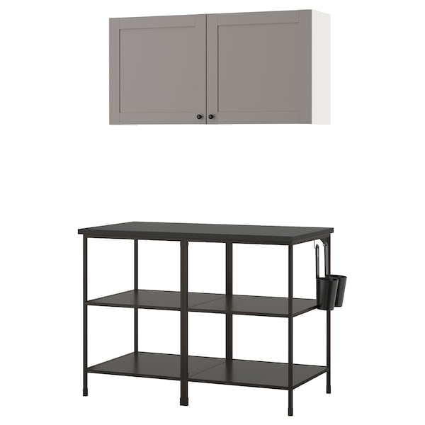 ENHET Zidna kombinacija za odlaganje, boja antracita/siva okvir, 123x63.5x207 cm