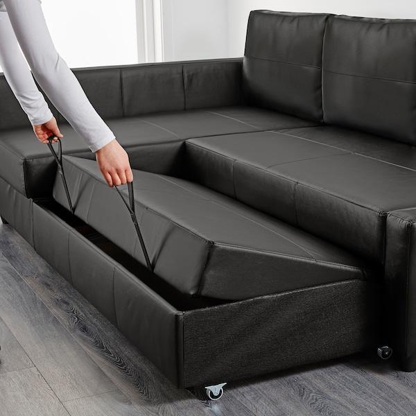 FRIHETEN Ugaona sofa ležaj s odlaganjem, Bomstad crna