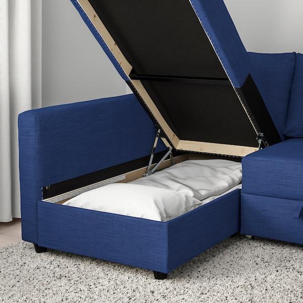 FRIHETEN Ugaona sofa ležaj s odlaganjem, Skiftebo plava
