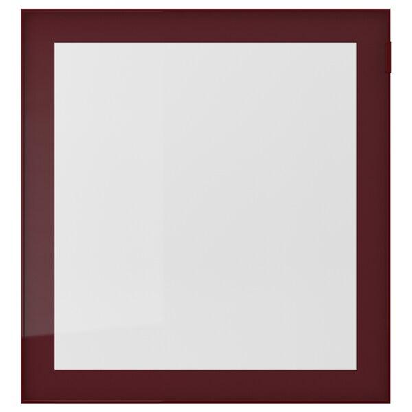 GLASSVIK Staklena vrata, tamnocrvena-smeđa/bistro staklo, 60x64 cm