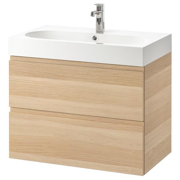 GODMORGON / BRÅVIKEN Postolje umivaonika,2 fioke, belo b. im. hrastovine/BROGRUND slavina, 80x48x68 cm