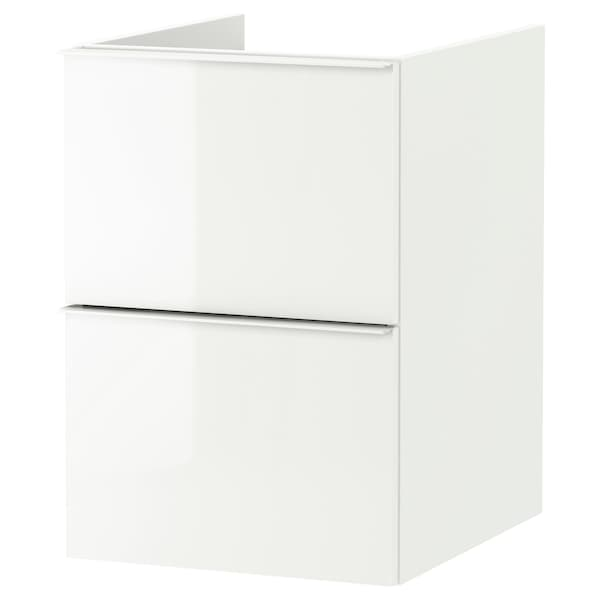 GODMORGON Postolje umivaonika,2 fioke, v. sjaj bela, 40x47x58 cm