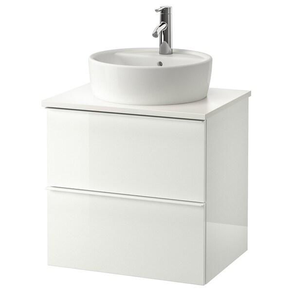 GODMORGON/TOLKEN / TÖRNVIKEN Postolje s pločom 45 umivaonik, v. sjaj bela/bela DALSKÄR slavina, 62x49x74 cm