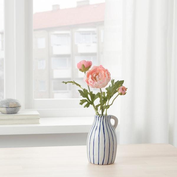 GODTAGBAR Vaza, keramika bela/plava, 14 cm