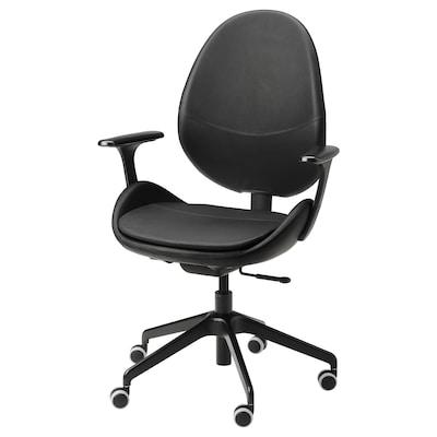 HATTEFJÄLL Kancelarijska stolica s rukohvatima, Smidig crna/crna