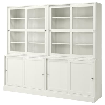 HAVSTA Komb.odlaganje s kliz.stakl.vratima, bela, 242x47x212 cm