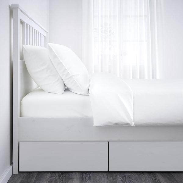 HEMNES Okvir kreveta s 4 kut. za odlaganje, belo bajcovano, 140x200 cm