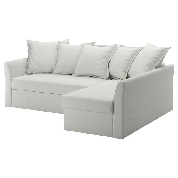 HOLMSUND Ugaona sofa ležaj, Orrsta svetlobela-siva