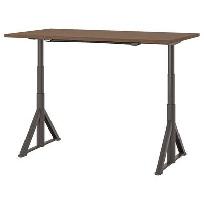 IDÅSEN Podesivi pisaći sto, smeđa/tamnosiva, 160x80 cm