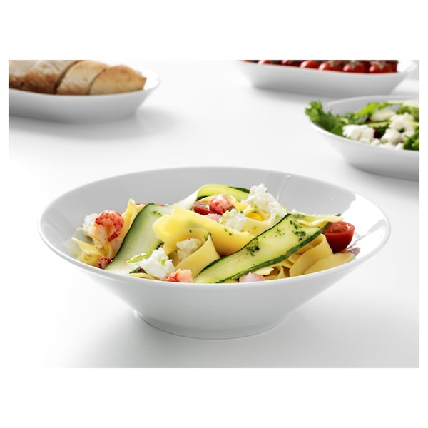 IKEA 365+ Duboki tanjir/činija, zakošene strane bela, 22 cm