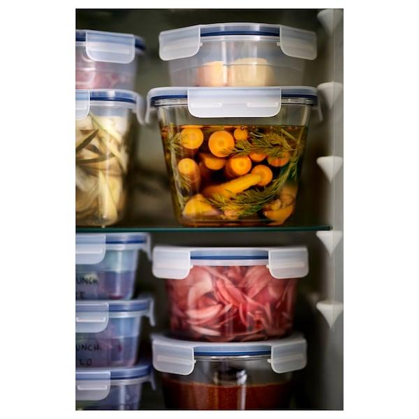 IKEA 365+ Posuda za hranu s poklopcem, kvadrat staklo/plastika, 1.2 l