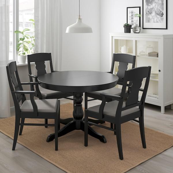 INGATORP / INGOLF Sto i 4 stolice, crna/Nolhaga siva/bež, 110/155 cm
