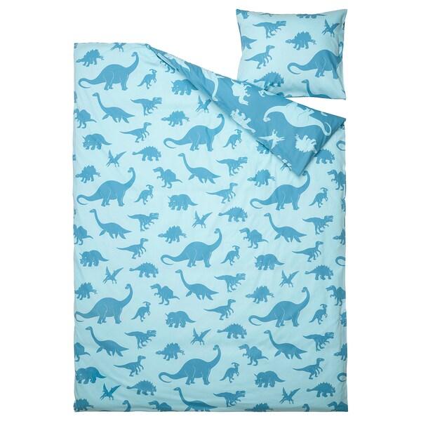 JÄTTELIK Jorganska navlaka i jastučnica, dinosaurus/plava, 150x200/50x60 cm