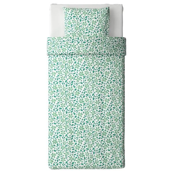 JUVELBLOMMA jorganska navlaka i jastučnica bela/zelena 104 kvadratni inč 1 komada 200 cm 150 cm 50 cm 60 cm