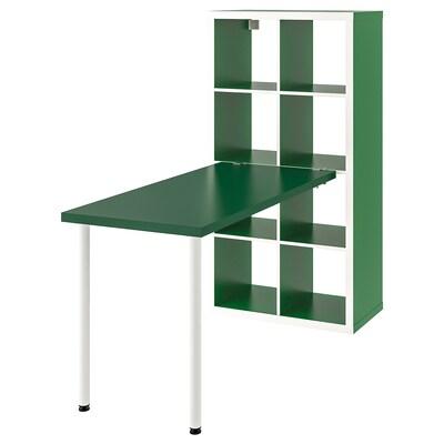 KALLAX Komb. pisaćeg stola, bela/zelena, 77x147x159 cm