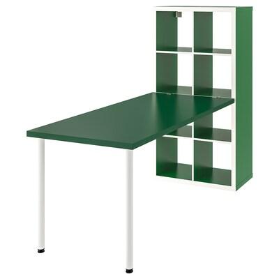 KALLAX Komb. pisaćeg stola, bela/zelena, 77x147x189 cm