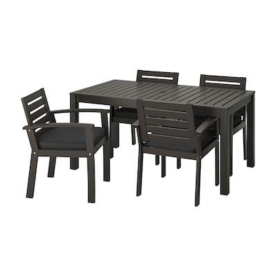 KLÖVEN Sto, 4 stolice i rukohvati,spolja, crno-smeđa/Järpön/Duvholmen boja antracita