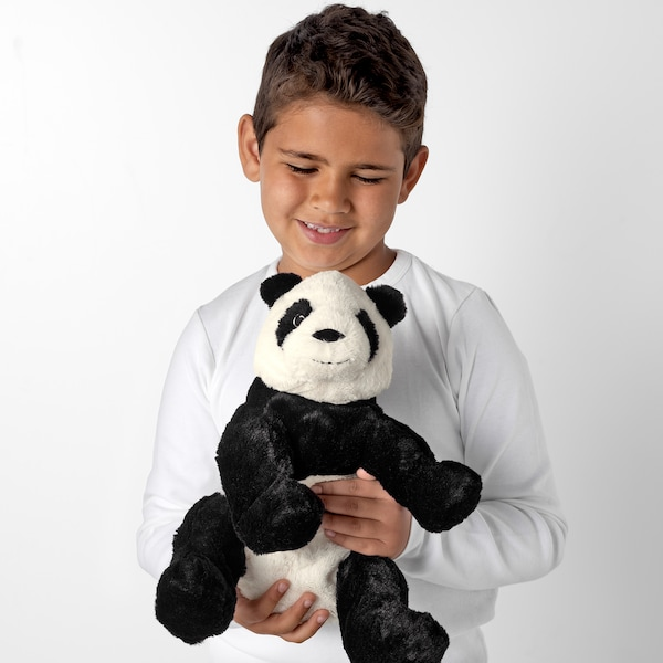 KRAMIG Plišana igračka, bela/crna