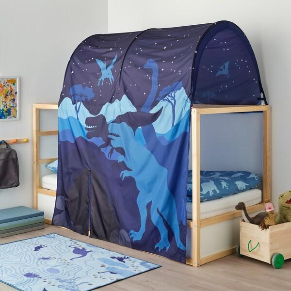KURA Podesivi krevet, bela/borovina, 90x200 cm