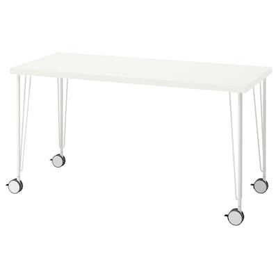 LAGKAPTEN / KRILLE Pisaći sto, bela, 140x60 cm