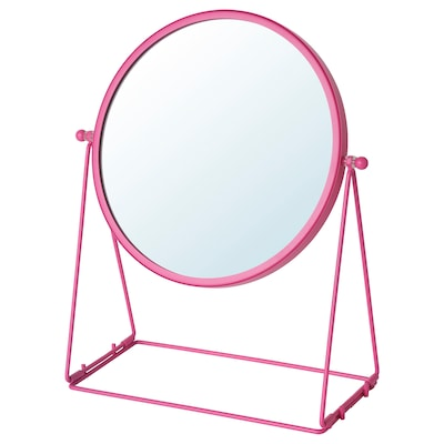 LASSBYN Stono ogledalo, roze, 17 cm