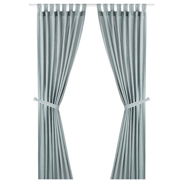 LENDA Zavese s vezicama, 1 par, tirkiznosiva, 140x300 cm