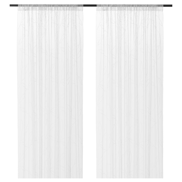 LILLEGERD Tanke zavese, 1 par, bela lišće, 145x300 cm