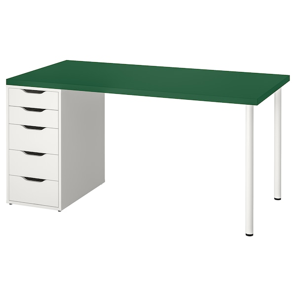 LINNMON / ALEX Sto, zelena/bela, 150x75 cm