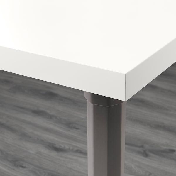 LINNMON / ALVARET Sto, bela/siva, 100x60 cm