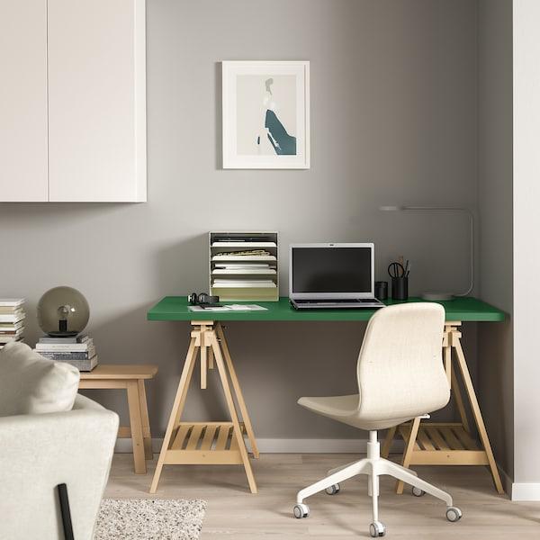 LINNMON / FINNVARD Sto, zelena/breza, 150x75 cm
