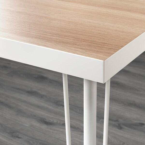 LINNMON / KRILLE Sto, bela belo b. im. hrastovine/bela, 120x60 cm