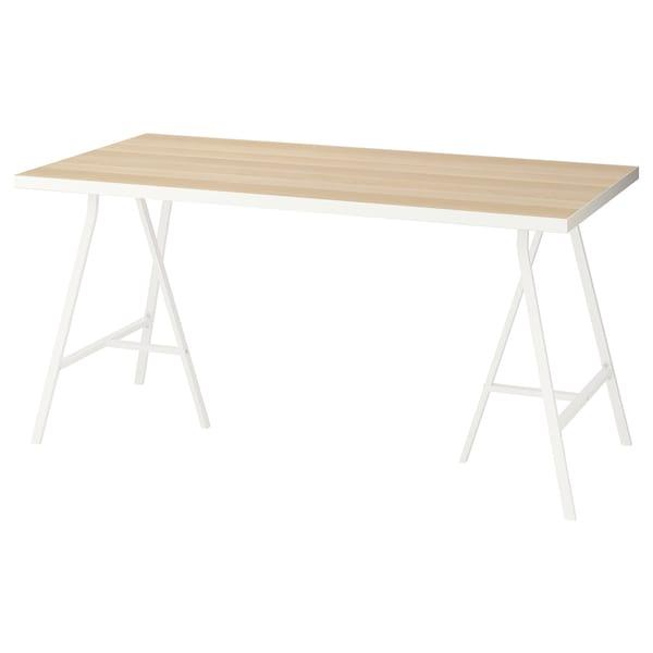 LINNMON / LERBERG Sto, bela belo b. im. hrastovine/bela, 150x75 cm