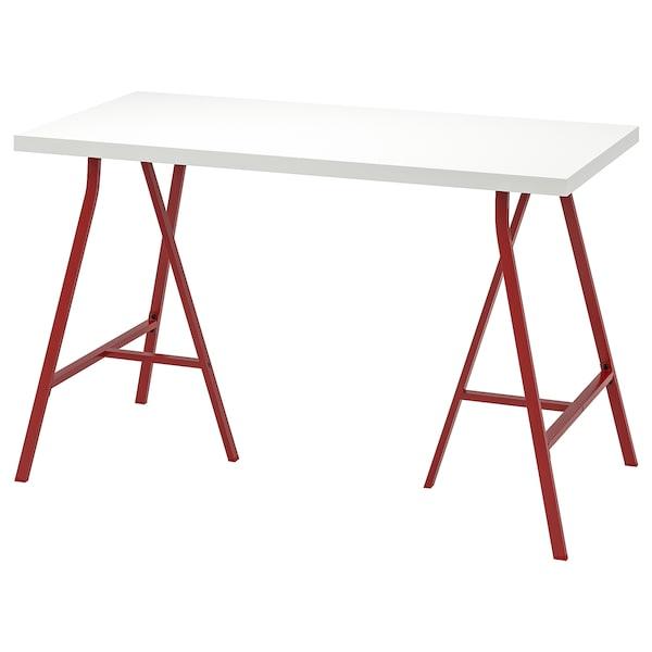LINNMON / LERBERG Sto, bela/crvena, 120x60 cm