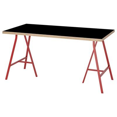LINNMON / LERBERG Sto, crna šperploča/crvena, 150x75 cm