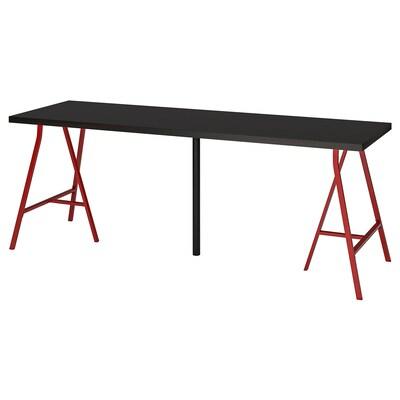 LINNMON / LERBERG Sto, crno-smeđa/crvena, 200x60 cm